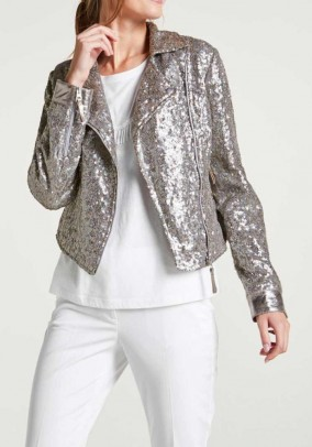 Sequin biker jacket with leather, silver coloured