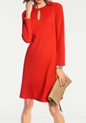 Jersey dress with cut-outs, red