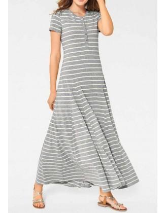 Ilga pilka dryžuota suknelė