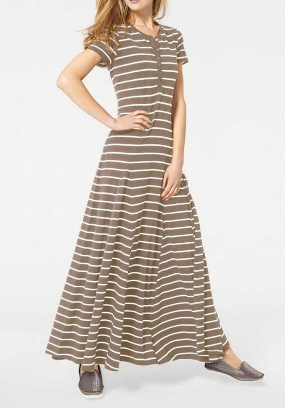 Ilga ruda dryžuota suknelė