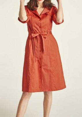 Oranžinė suknelė su diržu
