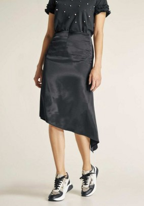 Satin skirt, black