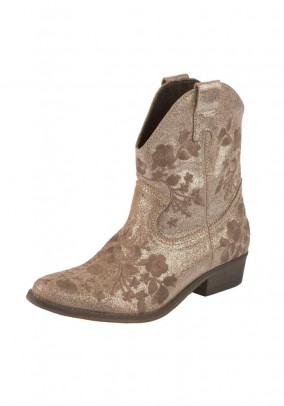 Velours leather boots with embroidery, taupe-metalic