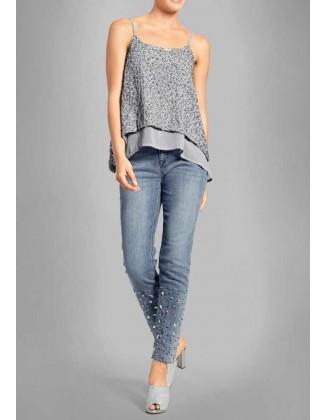 Mėlyni siuvinėti džinsai