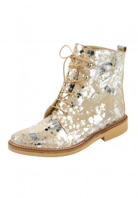 Velours booties, beige-silver coloured