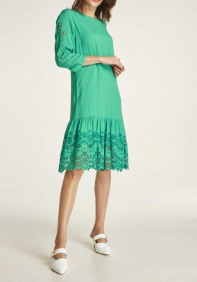 Dress with eyelet embroidery, emerald