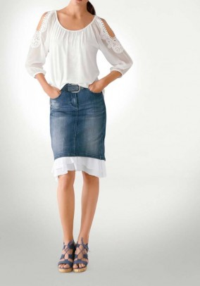 Denim skirt with flounces, blue-white