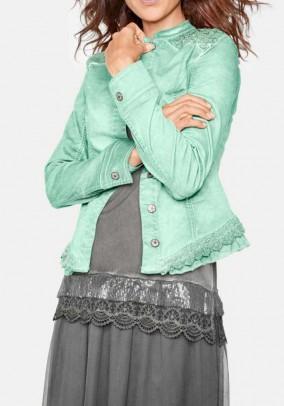 Denim jacket with lace, mint
