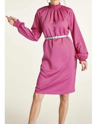 Rožinė satino suknelė