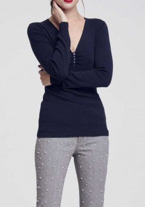 Sweater with silk, navy
