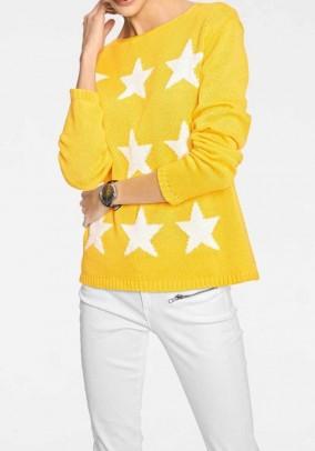 Geltonas žvaigždėtas megztinis