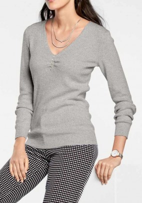 Sweater with silk, grey-blend