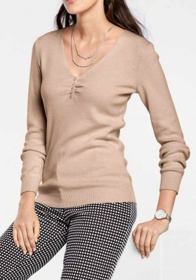 Sweater with silk, taupe