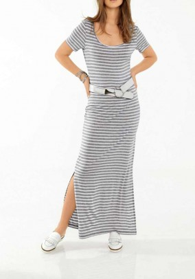 Ilga dryžuota pilka suknelė