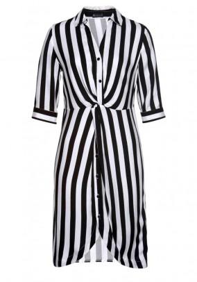 Dryžuota suknelė balta - juoda