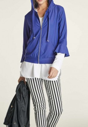 Jersey jacket with hood, royal blue