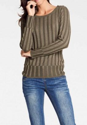 """Dryžuotas chaki megztinis """"Oli"""""""