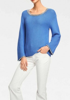 Sweater with rivets, blue