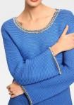 "Mėlynas dekoruotas megztinis ""Rivet"""