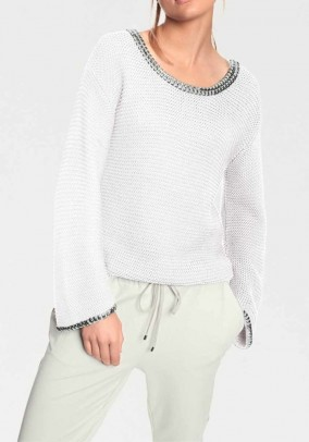 Sweater with rivets, offwhite