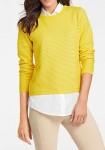 Geltonas megztinis su marškinių imitacija