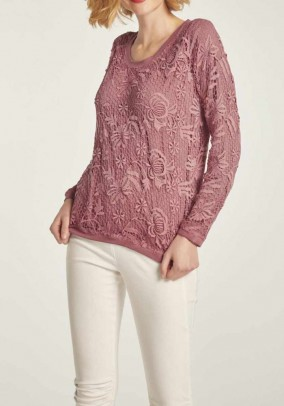 Lace sweater, rosewood