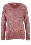 Rausvas nėriniuotas megztinis