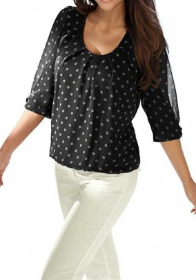 Chiffon blouse, black-white