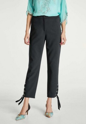 Trousers with lacing, black