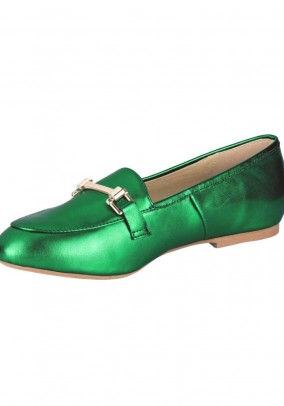 Leather slipper, green-metalic