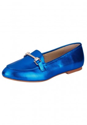 Leather slipper, blue-metalic