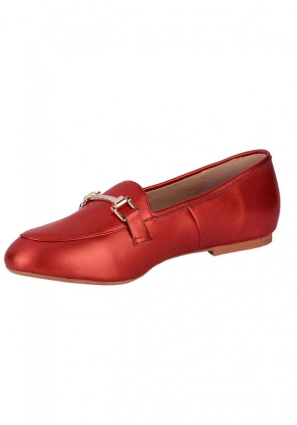 Leather slipper, red-metalic