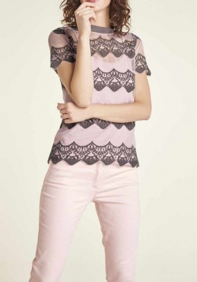 Lace shirt and top, rose-grey