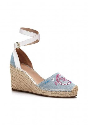 Wedge heel sandal with embroidery, light blue - white