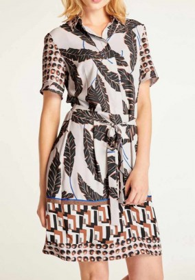 Print dress with belt, multicolour