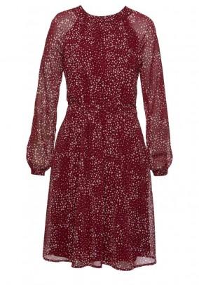 Chiffon dress, red-ecru