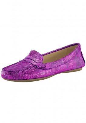 Leather slipper, pink-metalic