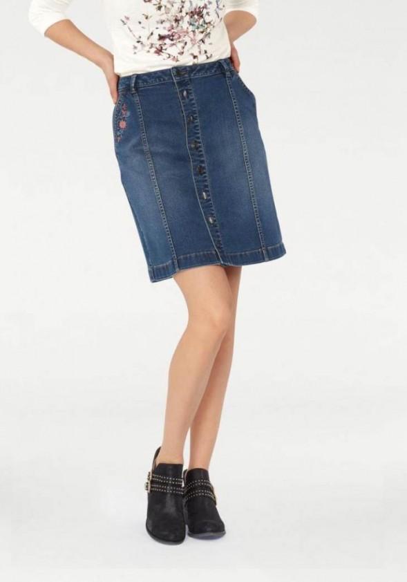 Džinsinis Tom Tailor siuvinėtas sijonas