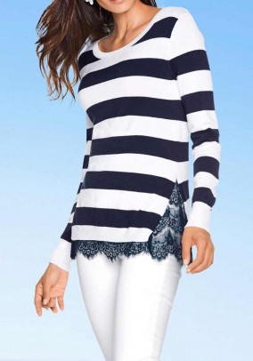 Two-in-one sweater with lace, navy-white