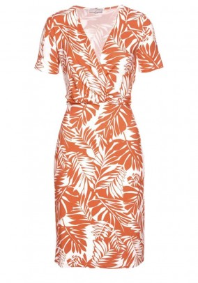 Jersey dress, orange-white