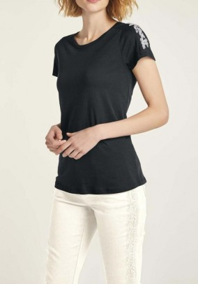 Jersey shirt with sequins, black