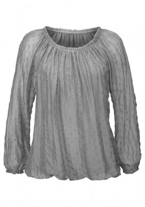 Blouse with silk, grey