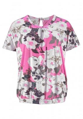 Plus size jersey shirt, pink-multicolour