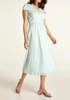 Dress with lace, soft mint