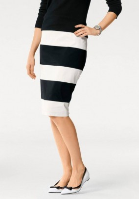 Pencil skirt, black-offwhite