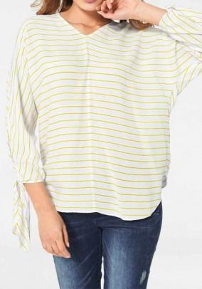 Striped blouse, white-yellow