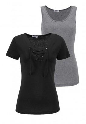 Shirt and top, black-grey blend