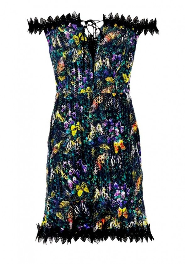 Lace dress with lacing, black-multicolour
