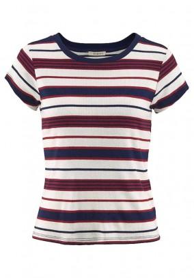 Striped shirt, red-blue-ecru