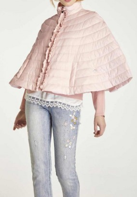 Cape with ruffles, soft rose